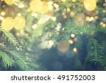 abstract christmas lights on... | Shutterstock . vector #491752003