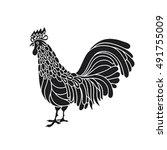 rooster  chicken  cock. vector... | Shutterstock .eps vector #491755009