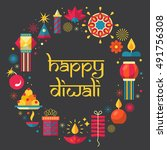 diwali hindu festival greeting... | Shutterstock .eps vector #491756308