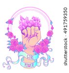 fight like a girl. woman's hand ... | Shutterstock .eps vector #491759350