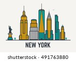 new york city architecture... | Shutterstock .eps vector #491763880