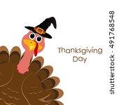 holiday turkey on thanksgiving... | Shutterstock .eps vector #491768548