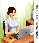 young pretty woman works in... | Shutterstock . vector #491770486