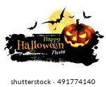 halloween party. message design ... | Shutterstock .eps vector #491774140