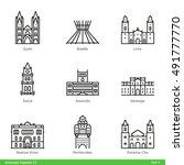 american capitals  part 4   ...   Shutterstock .eps vector #491777770