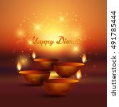 decorative diwali background... | Shutterstock .eps vector #491785444