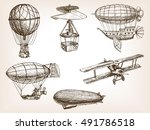 vintage aircrafts transport... | Shutterstock . vector #491786518