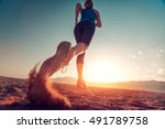 young lady running on the... | Shutterstock . vector #491789758