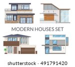modern houses set  real estate... | Shutterstock .eps vector #491791420