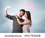 a young couple in love and... | Shutterstock . vector #491793448