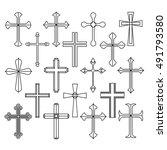 christian cross icons set on... | Shutterstock .eps vector #491793580