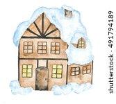 Christmas House Snow Winter...