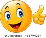 cartoon emoticon giving thumb up | Shutterstock . vector #491794294