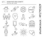 big set of symbols of charity ... | Shutterstock .eps vector #491795329