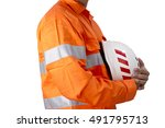 supervisor with construction... | Shutterstock . vector #491795713
