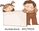 brown framework with funny kids | Shutterstock .eps vector #49179925