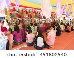 """Small photo of BANGKOK, THAILAND - October 2: 2016 Religious traditions,""""Tan Kuay Salak"""" (thai name)at Wat Benchamabophit on October,who will receive a donation to receive the precepts and blessing from the monks."""