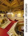 Small photo of BUDAPEST, HUNGARY- SEPTEMBER 11 2016: Interior of the Hungarian Royal Opera House, considered one of the architect's masterpieces and has the third best acoustics in Europe.