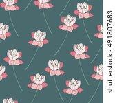 botanical lotus flower seamless ... | Shutterstock .eps vector #491807683