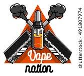 color vintage vape  e cigarette ...   Shutterstock .eps vector #491807974
