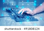 hand pressing keyboard with... | Shutterstock . vector #491808124