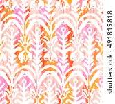 ikat watercolor seamless...   Shutterstock . vector #491819818
