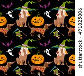 dogs in halloween costumes with ... | Shutterstock .eps vector #491825806
