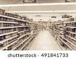 blurred image of supermarket... | Shutterstock . vector #491841733