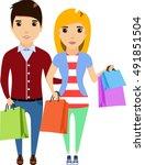 family buying  cartoon vector... | Shutterstock .eps vector #491851504