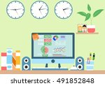 concept workstation at home in... | Shutterstock .eps vector #491852848