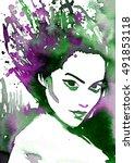 abstract watercolor... | Shutterstock . vector #491853118