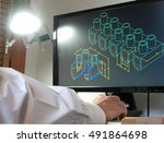 designer working on a cad... | Shutterstock . vector #491864698