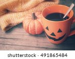 coffee with jack o lantern in... | Shutterstock . vector #491865484