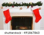 Closeup Santa Stockings On...