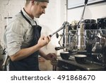 coffee machine barista grinder... | Shutterstock . vector #491868670