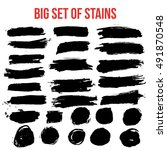 set of black paint artistic... | Shutterstock . vector #491870548