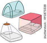 vector set of mosquito net | Shutterstock .eps vector #491873338