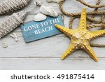 gone to the beach summer... | Shutterstock . vector #491875414