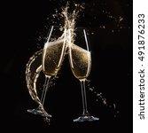 glasses of champagne ... | Shutterstock . vector #491876233