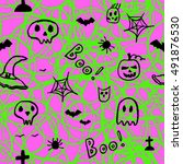 halloween seamless pattern ... | Shutterstock .eps vector #491876530