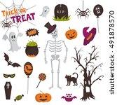 happy halloween design elements....   Shutterstock .eps vector #491878570