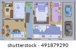 apartment floor plan.  top view ... | Shutterstock .eps vector #491879290