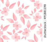 Cherry blossom. Watercolor floral background. Seamless pattern 2