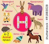 cute children zoo alphabet h... | Shutterstock .eps vector #491883028