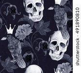 Watercolor ethnic seamless pattern with paisley flowers and skull, raven. Gothic floral print for wrapping, wallpaper, fabric