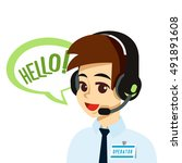 call center operator with... | Shutterstock .eps vector #491891608