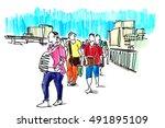 people walking marker sketch | Shutterstock . vector #491895109