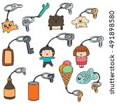 vector set of key chain | Shutterstock .eps vector #491898580
