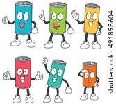 vector set of can cartoon | Shutterstock .eps vector #491898604
