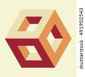 isometric hollow cube  vector... | Shutterstock .eps vector #491902543